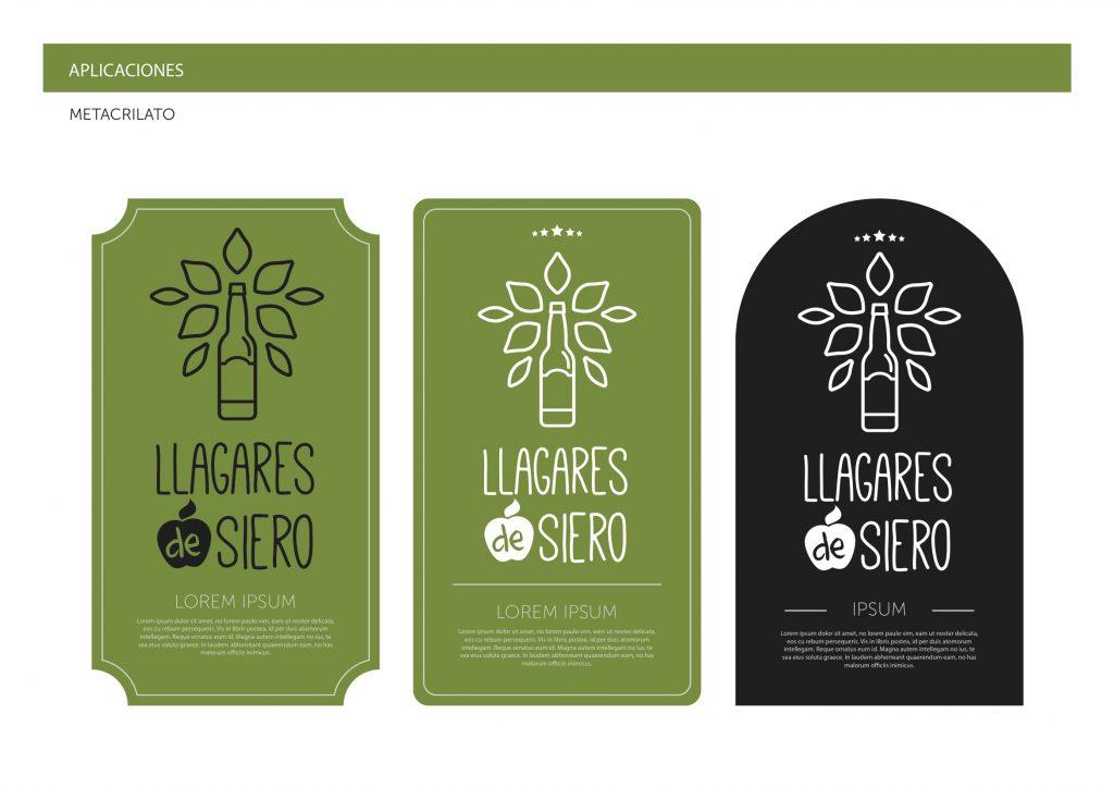 Detalle del una aplicación de la marca Llagares de Siero en el manual de identidad corporativa
